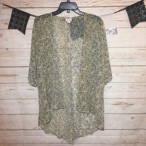 LuLaRoe Lindsay Sheer Floral Boho Kimono Size S